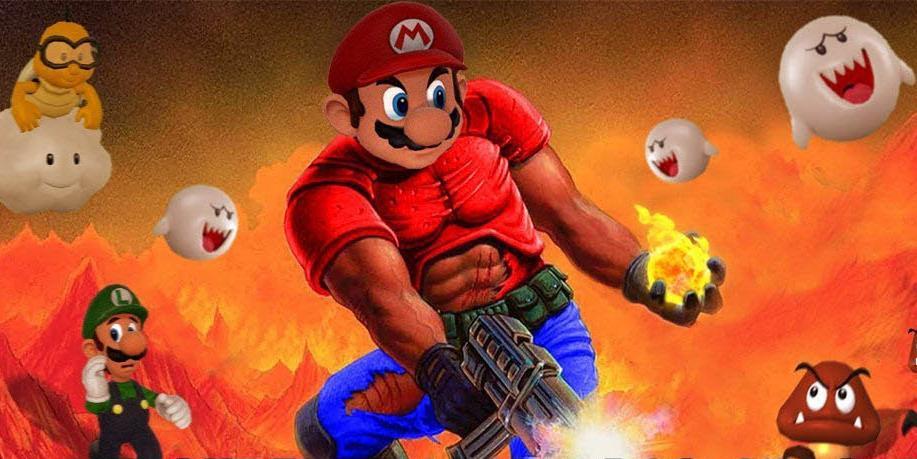 Super Mario Bros. как шутер от первого лица